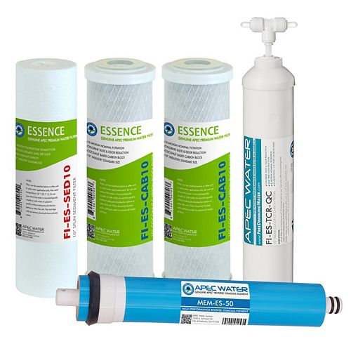 APEC Water Systems Essence Complete 5-Stage 50 GPD Industry Standard Size Reverse Osmosis Replacement Filters Set