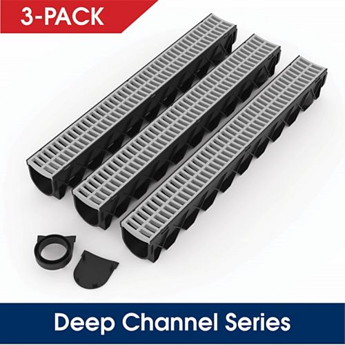 Storm Drain Series Channel Drain Kit with Portland Grey Grate (3-Pack)