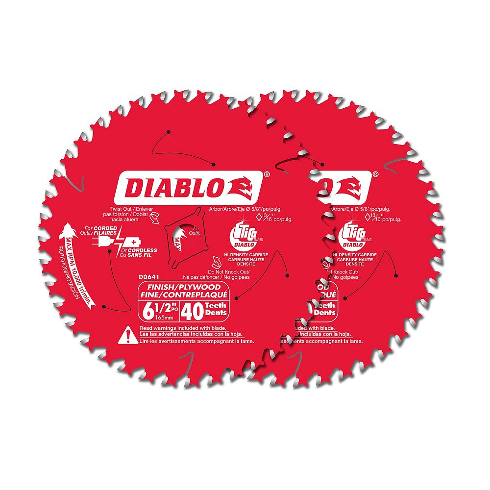 Diablo 6 1/2-inch x 40 Tooth Carbide Tipped Finish Circular/Trim Saw Blade for Wood Cutting (2 Pack)