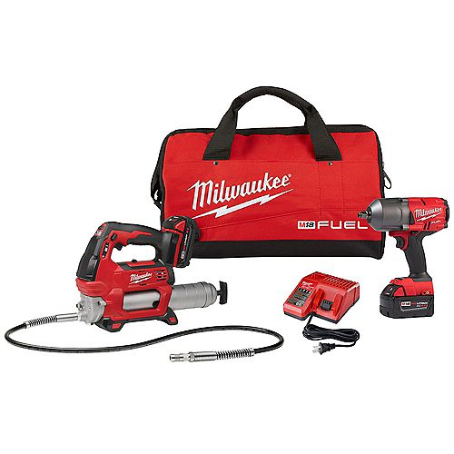 M18 FUEL 18V Lithium-Ion Brushless Cordless 1/2 -inch Impact Wrench with M18 Grease Gun Combo Kit
