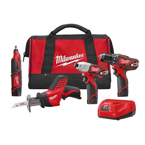 M12 12V Lithium-Ion Cordless Combo Tool Kit (4-Tool) with (3) 1.5Ah Batteries