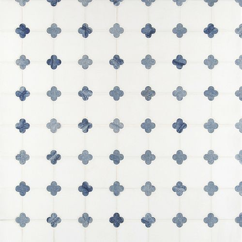 MSI Stone ULC Carreaux de mosaïque de marbre poli Azula Floret, 12 po x 12 po x 10 mm, sur filet (10 pi2/boîte)
