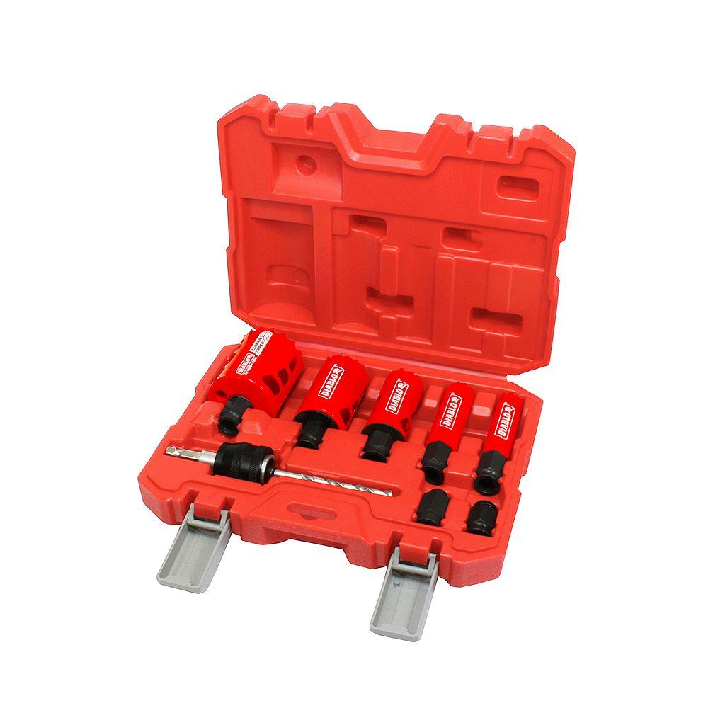 Diablo 3/4-2-Inch Bi-Metal/Carbide Hole Saw Kit/Set for Wood/Metal Cutting (9 Pieces)