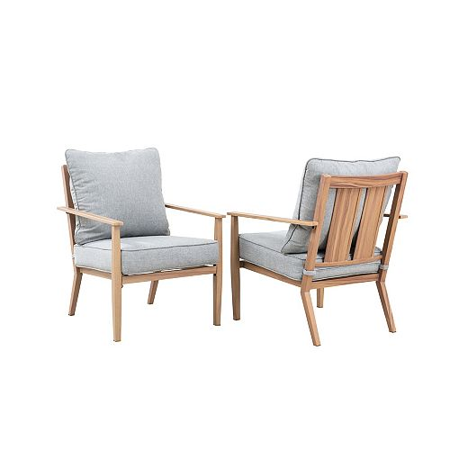 Alderton Brown Steel Outdoor Patio Lounge Chair with Standard Stone Gray Cushions (2-Pack)