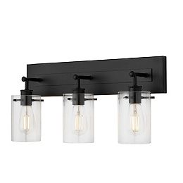 Regan 3-Light Matte Black Vanity Fixture with Clear Cylinder Glass Shades