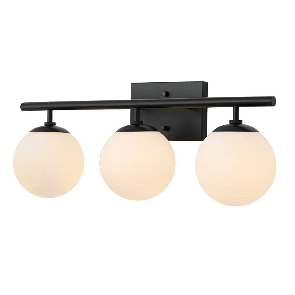 Hampton Bay 3-Light Matte Black Vanity Fixture with Etched Opal Glass Shades