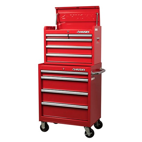 27-inch 9-Drawer Chest and Cabinet Combo in Red