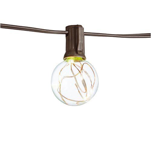 Guirlande lumineuse extérieure/intérieure à LED G40 en cuivre de 12 pieds (10 têtes)