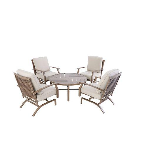 Hampton Bay Geneva 5pc All-Weather Wicker Patio Deep Seating Set - Almond