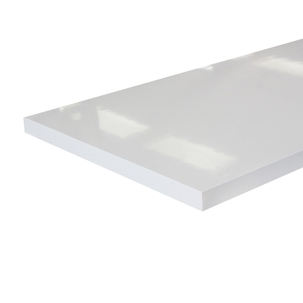 HDG 8 ft. Laminate Countertop Glossy White with ABS Edge