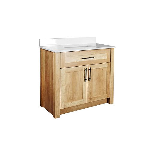 Farley 36 inch Vanity with White Artificial Stone Vanity Top in Natural Wood Finish