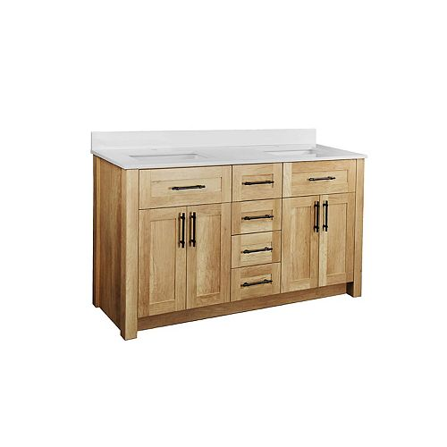 Farley 60 inch Vanity with White Artificial Stone Vanity Top in Natural Wood Finish
