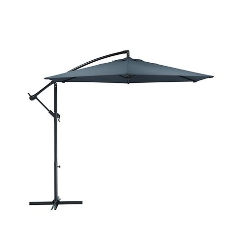 9.5 ft. Steel Round Offset Patio Umbrella with X Base - Gray