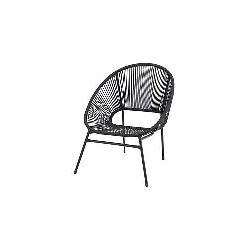 Mix & Match Black All-Weather Wicker Patio Egg Stacking Chair