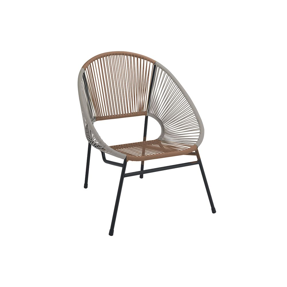 StyleWell Mix & Match Grey/Wheat All-Weather Wicker Patio Egg Stacking Chair