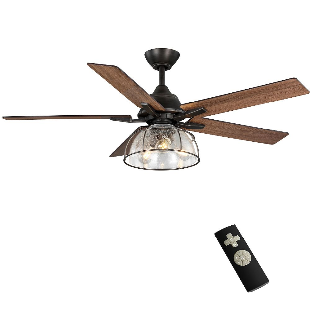 Home Decorators Collection Casun 52-inch Aged Iron Ceiling Fan with Filament Lamp and Remote Control