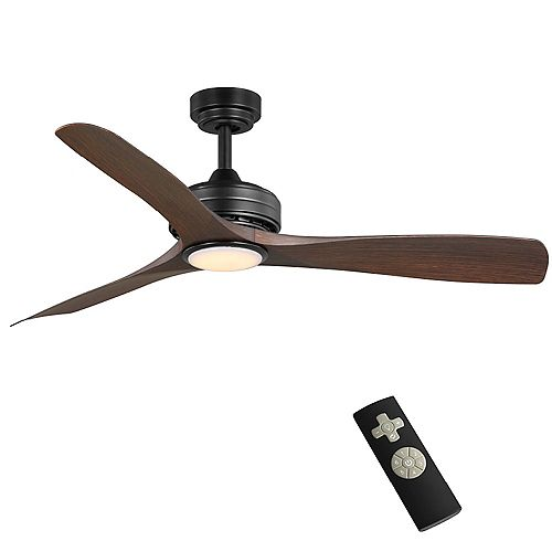 Bayshire 52-inch Integrated LED Light Matte Black Ceiling Fan with Remote Control