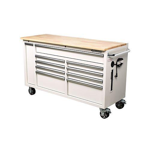 61 inch 10-Drawer Mobile Workbench with Plastic Bin Storage Drawer