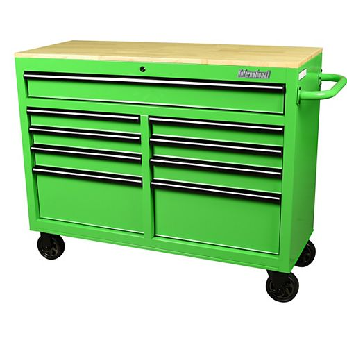 46 inch 9-Drawer Mobile Workbench with Solid Wood Top in Green
