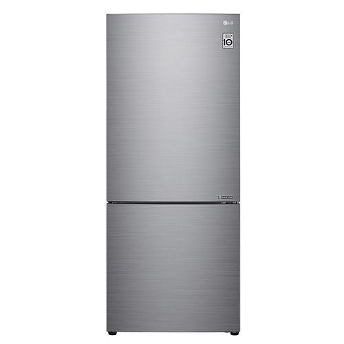 Réfrigérateur à congélateur inférieur de 28 pouces 15 pieds cubes en argent platine, profondeur de comptoir - ENERGY STAR