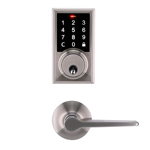 Neo Satin Nickel Touchscreen Deadbolt with Freedom Hall and Closet Door Lever Combo Pack