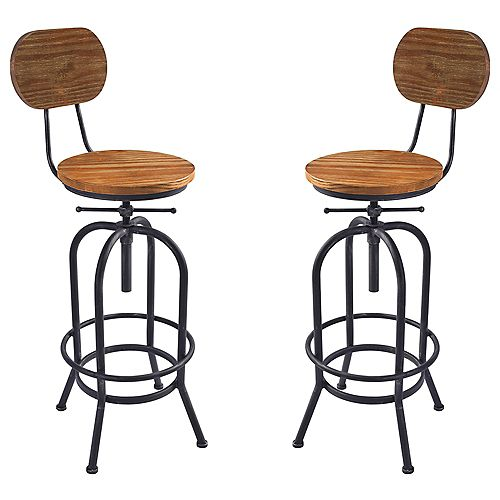 Adele Adjustable Barstool in Silver Brushed Gray with Rustic Pine Wood Seat and Back - Set of 2