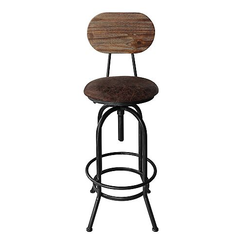 Todays Mentality Adele Adjustable Barstool in Silver Brushed Gray with Brown Fabric Seat and Rustic Pine Back