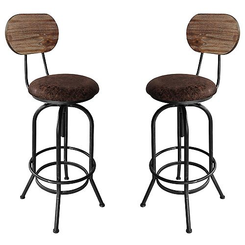 Adele Adjustable Barstool in Brushed Gray with Brown Fabric Seat and Rustic Pine Back - Set of 2