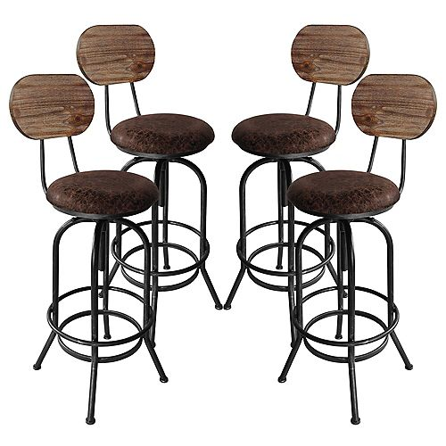 Adele Adjustable Barstool in Brushed Gray with Brown Fabric Seat and Rustic Pine Back - Set of 4