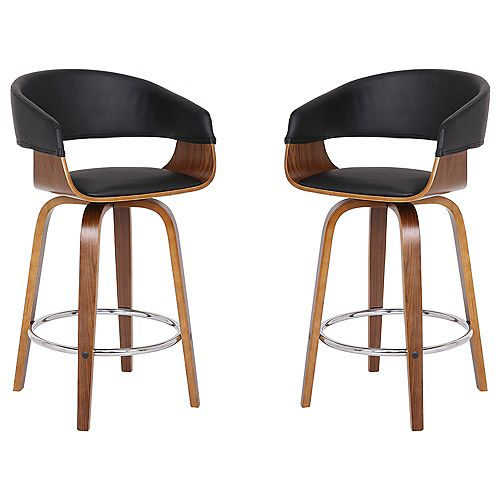 "Blanca Modern 26"" Counter Height Bar stool in Walnut and Black Faux Leather - Set of 2"