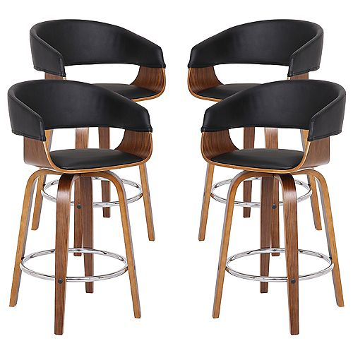 "Blanca Modern 26"" Counter Height Bar stool in Walnut and Black Faux Leather - Set of 4"