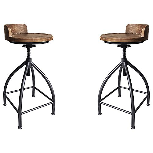 Fuchsia Industrial Adjustable Metal Barstool in Silver Brushed Gray with Brown Wood Seat - Set of 2
