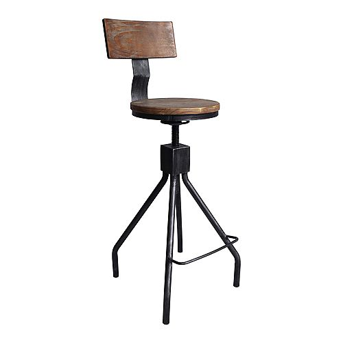 Riley Industrial Adjustable Metal Barstool in Silver Brushed Gray with Walnut Wood Back and Seat