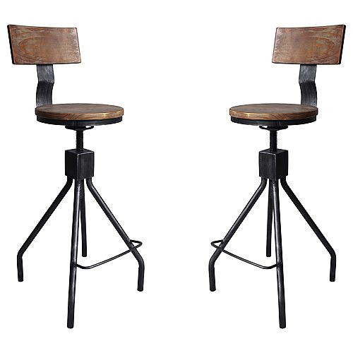 Riley Adjustable Metal Barstool in Silver Brushed Gray with Walnut Wood Back and Seat - Set of 2