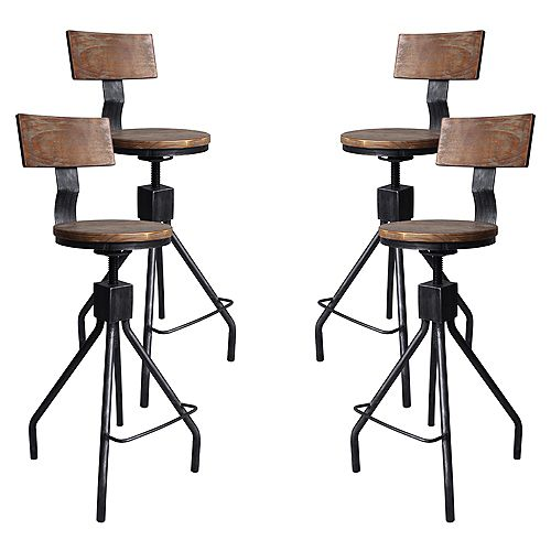 Riley Adjustable Metal Barstool in Silver Brushed Gray with Walnut Wood Back and Seat - Set of 4