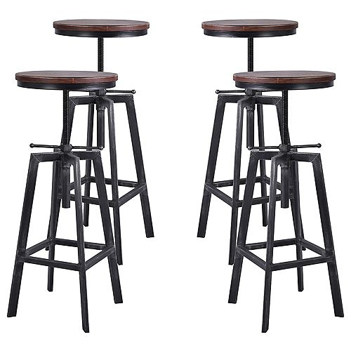 Thomas Backless Adjustable Metal Barstool in Brushed Gray with Rustic Pine Wood Seat - Set of 4