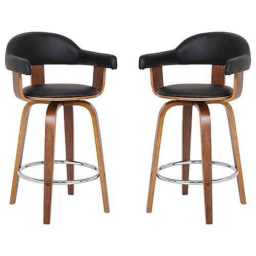 "Victoria Modern 26"" Counter Height Bar stool in Walnut and Black Faux Leather - Set of 2"