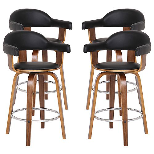 "Victoria Modern 26"" Counter Height Bar stool in Walnut and Black Faux Leather - Set of 4"