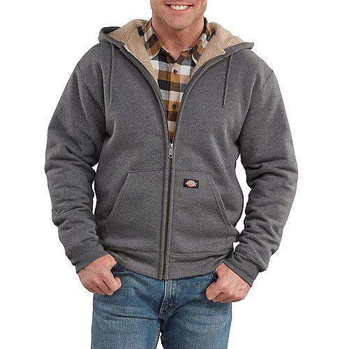 Men's Sherpa Lined Fleece Hoodie Dark Heather Grey XL