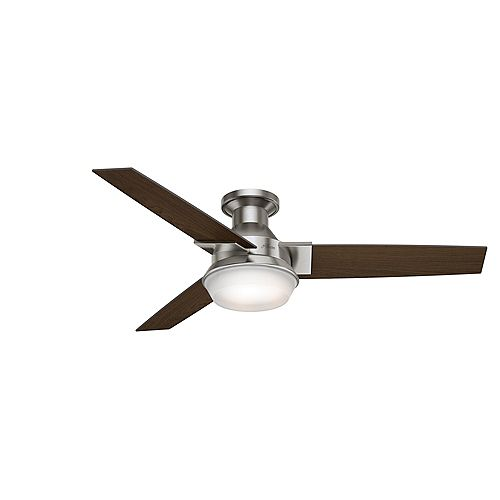 Morelli 52-Inch LED Indoor Brushed Nickel Low Profile Ceiling Fan