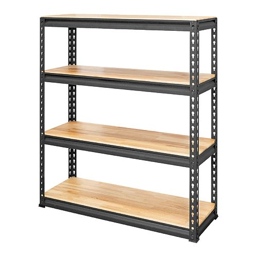 35-inch W x 41-inch H x 11-3/4-inch D 4-Tier Adjustable Shelving Unit in Black