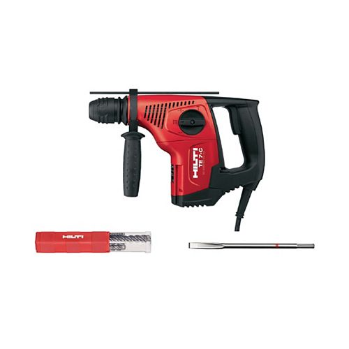 Hilti 6 Amp 120-Volt Corded SDS-Plus TE-7C Concrete Rotary Hammer with Flat Chisel and TE-CX M4 Bit Set
