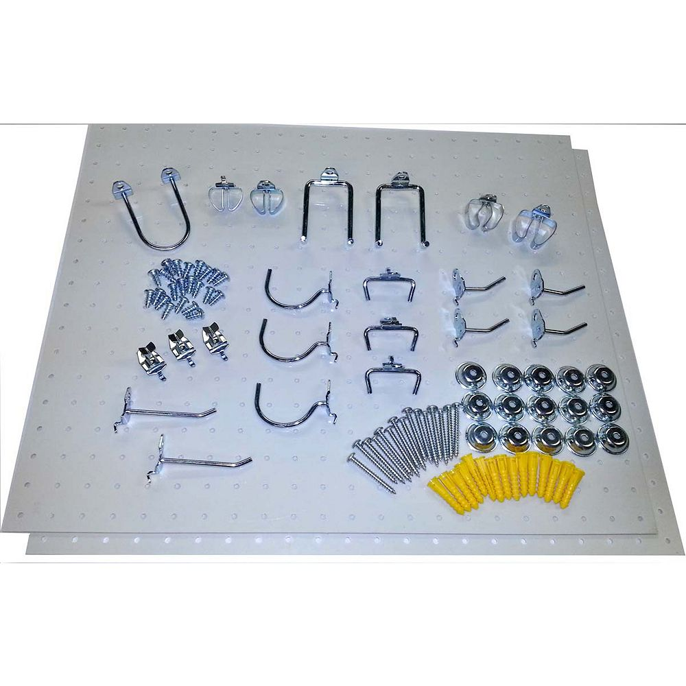 Triton (2) 22 In. W x 18 In. H x 1/8 In. D White Poly Pegboards with 22 pc. DuraHook Assort. and Hardware