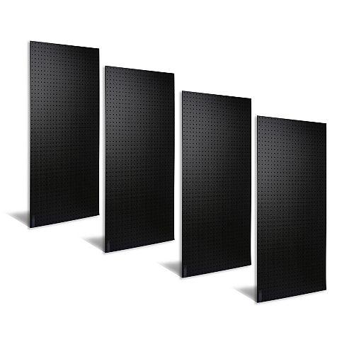 (4) 24 In. W x 48 In. H x 3/16 In. D Matte Black Polyethylene Pegboards
