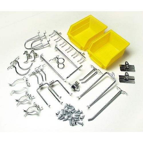 26 Pc Zinc Plated Steel Hook & Bin Assortment for DuraBoard or 1/8 In. and 1/4 In. Pegboard