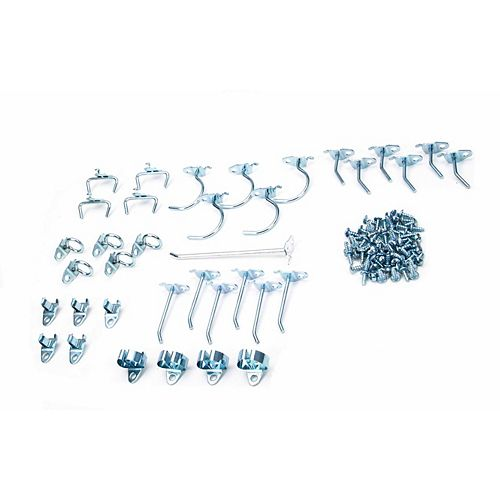 36 Pc Zinc Plated Steel Hook Assortment for DuraBoard or 1/8 In. and 1/4 In. Pegboard