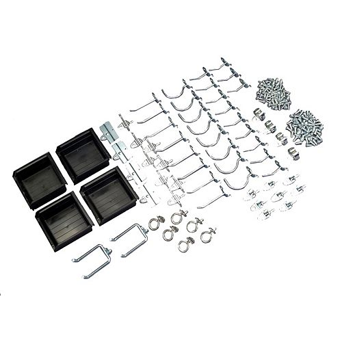 64 Pc Zinc Plated Steel Hook & Bin Assortment for DuraBoard or 1/8 In. and 1/4 In. Pegboard