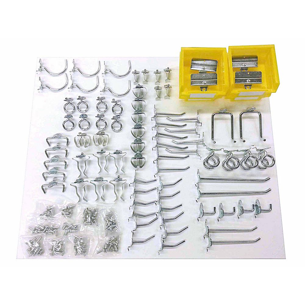 Triton 83 pc. Zinc Plated Steel Hook & Bin Assortment for DuraBoard or 1/8 In. and 1/4 In. Pegboard
