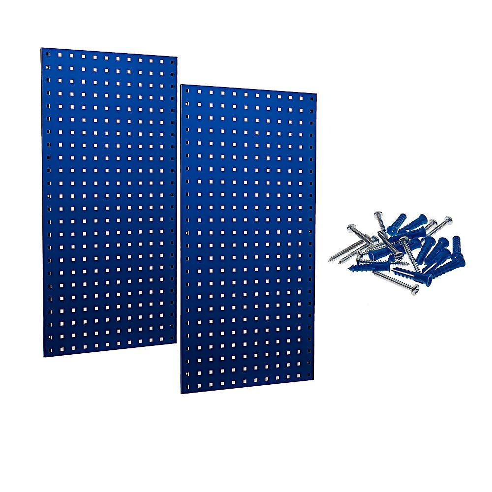 Triton (2) 18 In. W x 36 In. H x 9/16 In. D Blue Epoxy, 18 Gauge Steel Square Hole Pegboards