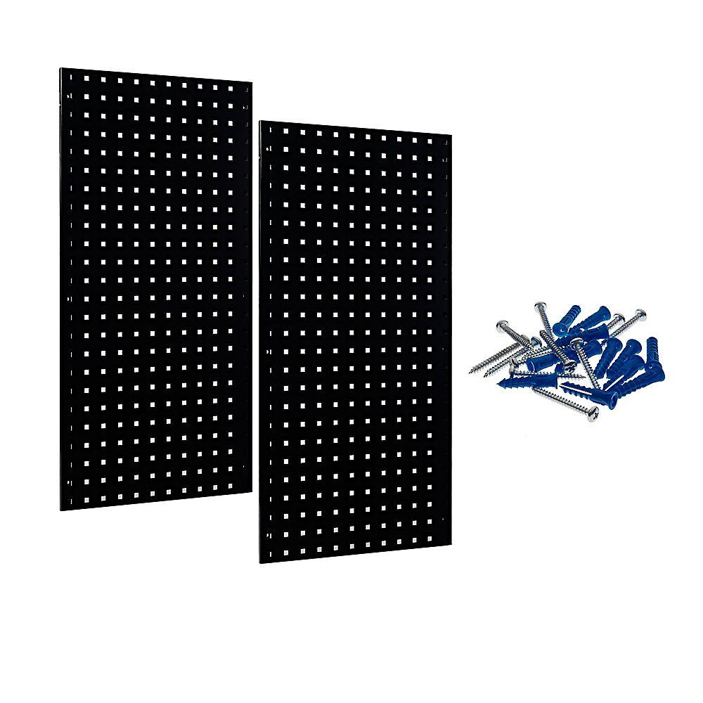 Triton (2) 18 In. W x 36 In. H x 9/16 In. D Black Epoxy, 18 Gauge Steel Square Hole Pegboards